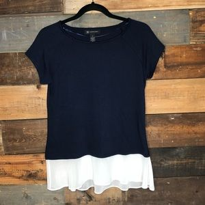 INC | Navy Short Sleeve Top with Sheer White Hem
